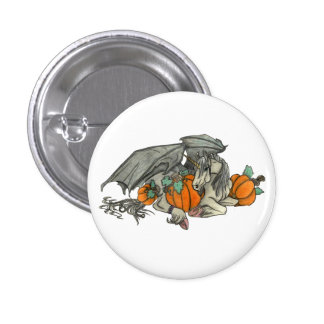Bat winged Unicorn protecting a pumpkin patch Pinback Button