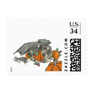 Bat winged Unicorn protecting a pumpkin patch Postage