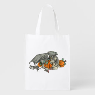 Bat winged Unicorn protecting a pumpkin patch Reusable Grocery Bag