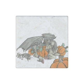 Bat winged Unicorn protecting a pumpkin patch Stone Magnet