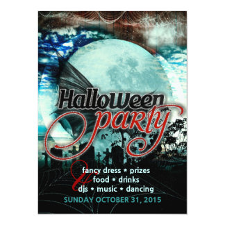 Bat Wings Moon Cemetery Halloween Party Invitation