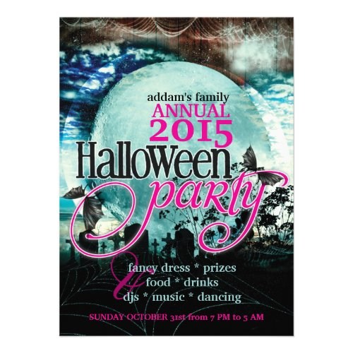 Bat Wings Moon Fairy-tale Halloween Party Custom Invites