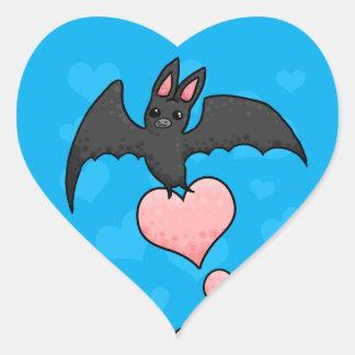 Bat with hearts heart sticker