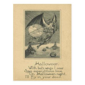 Bat Woman Jack O Lantern Pumpkin Cornstalk Full Mo Postcard