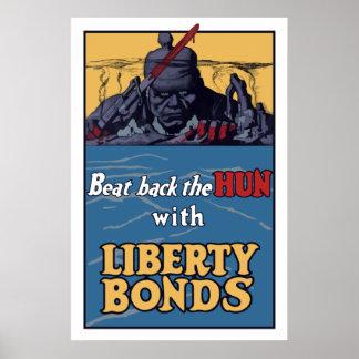 Bata detrás al Hun con los enlaces de la libertad Póster