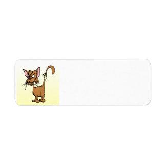 Bata para arriba el gato del dibujo animado etiquetas de remite