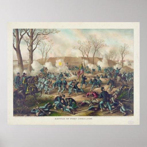 Batalla americana de la guerra civil del fuerte póster