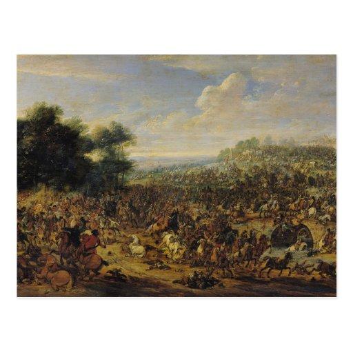 Batalla cerca de un puente postales