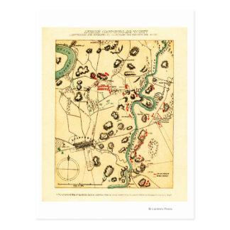 Batalla de Antietam - mapa panorámico 2 de la guer Postales