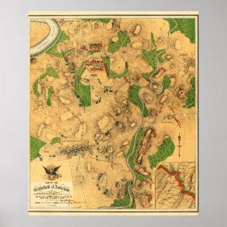 Batalla de Antietam - mapa panorámico 3 de la guer Impresiones