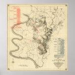 Batalla de Antietam - mapa panorámico 4 de la guer Póster