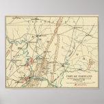 Batalla de Antietam - mapa panorámico 6 de la guer Póster