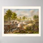 Batalla de Antietam que muestra a general McClella Póster