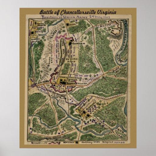 Batalla de Chancellorsville Virginia - mapa Póster
