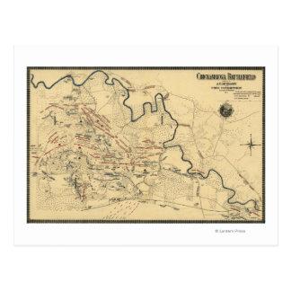 Batalla de Chickamauga - mapa panorámico de la Tarjetas Postales