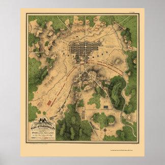 Batalla de Gettysburg, mapa panorámico del PA - 18 Póster