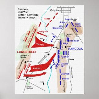 Batalla de guerra civil del mapa de la carga de Ge Poster