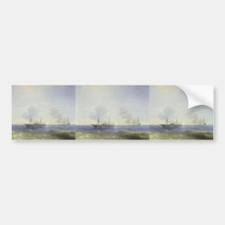 Batalla de Ivan Aivazovsky- del buque de vapor Ves Etiqueta De Parachoque