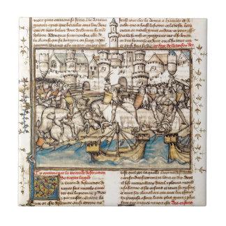 Batalla de la guerra de Troya Azulejo Cuadrado Pequeño