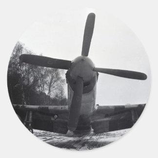 Batalla de las Ardenas del mustango de P 51 Pegatina Redonda