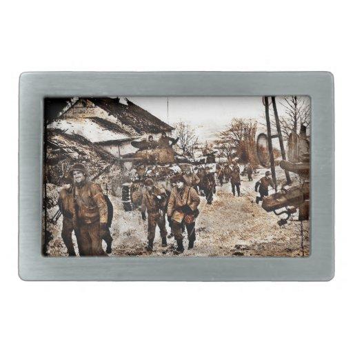 Batalla de las Ardenas WWII renovado Hebilla Cinturón Rectangular