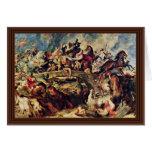 Batalla de los Amazonas de Rubens Peter Paul Tarjeton