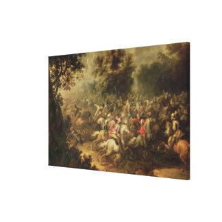Batalla de los cavalrymen impresión en tela