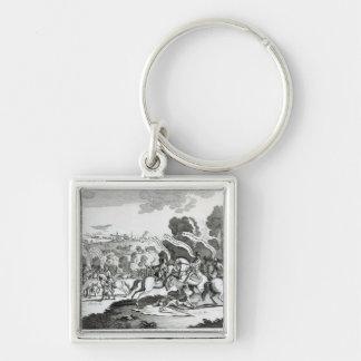 Batalla de Minden, el 1 de agosto de 1759 Llavero Cuadrado Plateado