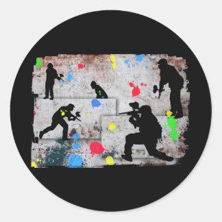 Batalla de Paintball Etiquetas Redondas