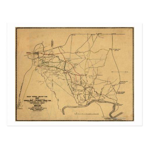 Batalla de Shiloh - mapa panorámico 2 de la guerra Tarjeta Postal