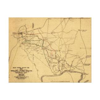 Batalla de Shiloh - mapa panorámico 5 de la guerra Impresión En Lona
