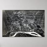 Batalla de Shiloh - mapa panorámico de la guerra c Impresiones
