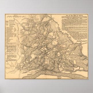 Batalla de Shiloh - mapa panorámico de la guerra c Póster