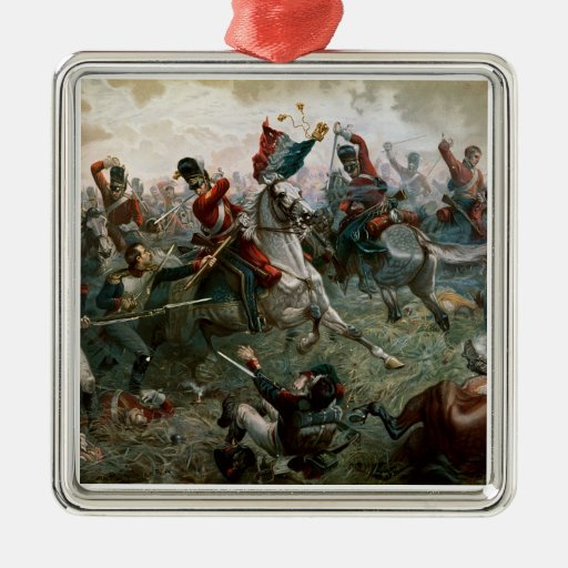 Batalla de Waterloo, el 18 de junio de 1815, 1898 Adorno Cuadrado Plateado