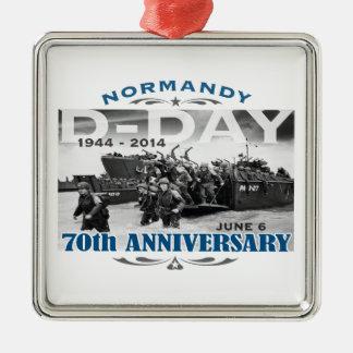 Batalla del aniversario del día D 70.o de Adorno Cuadrado Plateado