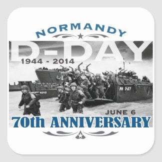 Batalla del aniversario del día D 70.o de Calcomanias Cuadradas