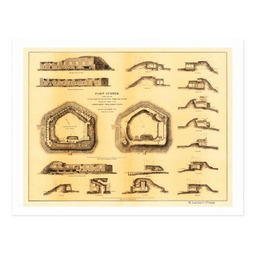 Batalla del fuerte Sumter - guerra civil 4 Postal