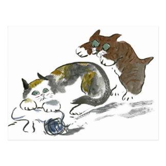 Batalla del hilado con el gatito y el gato postales