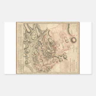 Batalla del mapa 1784 de la revolución americana pegatina rectangular