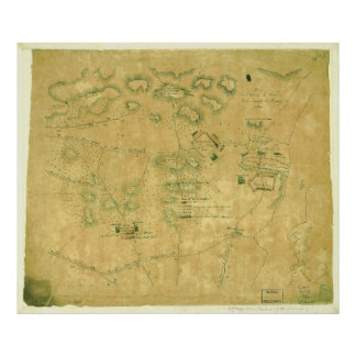Batalla del mapa revolucionario de la guerra de la póster