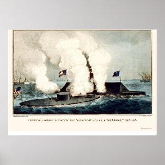 Batalla del monitor y del Merrimac 1862 Poster
