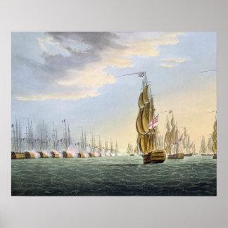 Batalla del Nilo, el 1 de agosto de 1798, grabado  Poster