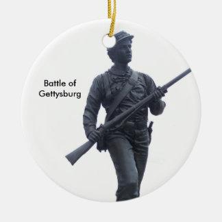 Batalla del ornamento del soldado de Gettysburg Adorno Navideño Redondo De Cerámica