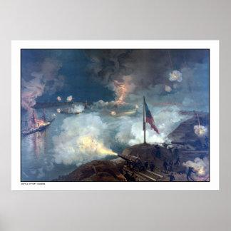 Batalla del puerto el Hudson -- Guerra civil Póster