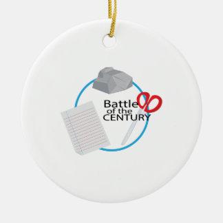 Batalla del siglo adorno navideño redondo de cerámica
