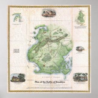 Batalla del vintage del mapa de Brooklyn NY (1867) Póster