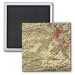 Batalla del vintage del mapa de Chantilly (1862) Imanes