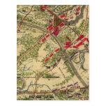 Batalla del vintage del mapa de Chantilly (1862) Tarjeta Postal