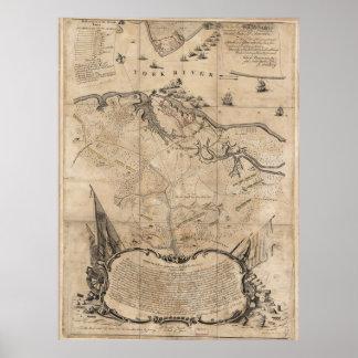 Batalla del vintage del mapa de Yorktown Virginia Póster