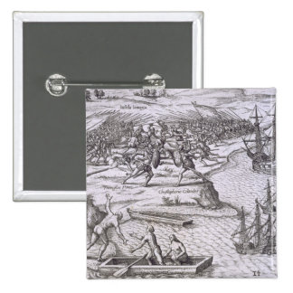 Batalla en Jamaica entre Cristóbal Colón (14 Pin Cuadrada 5 Cm
